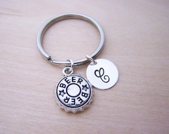 Beer Key Chain- Beer Charm - Personalized Key Chain - Initial Key Chain - Custom Key Chain - Personalized Gift - Gift for Him / Her