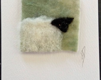 Sheep textile greeting card, felt and stitch greeting card, textile art card, blank inside greeting card, any occasion card
