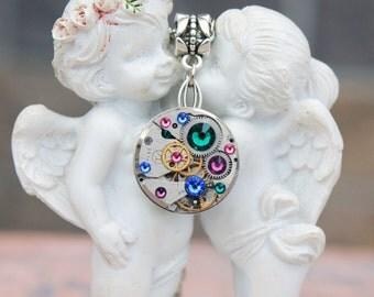 Steampunk necklace, swarovski necklace, steampunk jewelry