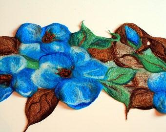 Turquoise Blue Magnolia Flower Handmade Wet Felted Table Runner, Merino Wool Silk Blend Nuno Felt Dresser Scarf, Decorative Table