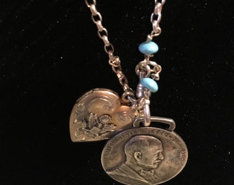 long sterling silver necklace with vintage locket and watch fob