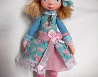 Little art doll, ooak, cute little girl in blue and pink, clay doll,miniature