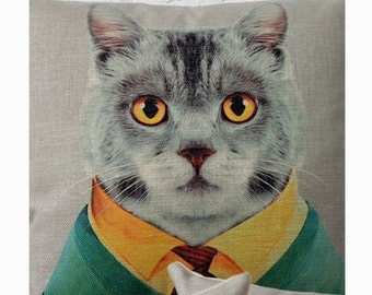 Cat Throw Pillow, Decorative Pillow Cover, Cushion Cover, Bedroom Decor, Sofa Pillow Case, Accent Pillow Living Room