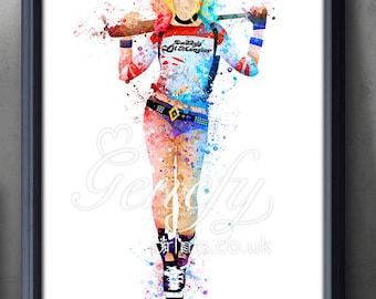 Suicide Squad Harley Quinn Watercolor Poster Print - Wall Decor - Artwork- Painting - Illustration - Home Decor - Kids Decor - Nursery Decor