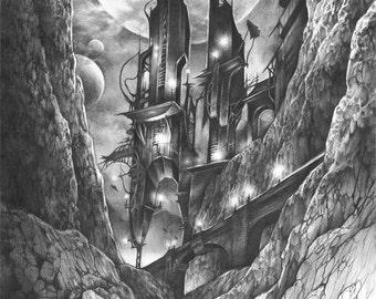 ORIGINAL fantasy illustration by Katarzyna Kmiecik / original pencil drawing, futuristic art, imaginary world, future architecture, realism