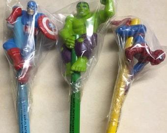 Vintage superhero pencil Marvel set Hulk Captain America Spiderman unused very HTF Old stock