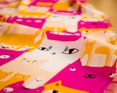 SALE Kitty Cat Chiffon / Bright printed cats - fuscia & yellow textile -  Price per 1/2 yard / Imported from France