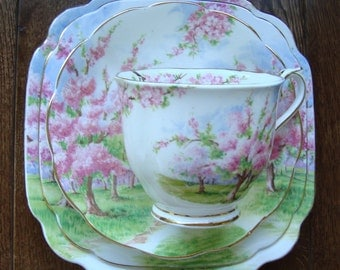 Blossom Time 4 Piece - Royal Albert Bone China England - Scenic - Trees with Pink Apple Blossoms - Starter/Replacement Pieces