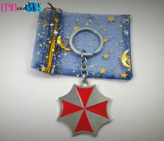 Umbrella Corps Keychain - FREE SHIPPING - Resident Evil Inspired Key Ring Gift - Zombie Related Gift - Geeky Keychain - Umbrella Corporation