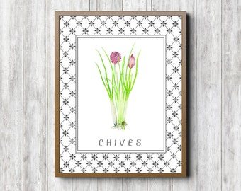 Kitchen Wall Art Print - Chives Printable Wall Art - Watercolor Herbs Poster - Culinary Art Print - Restaurant Decor - Food Wall Decor