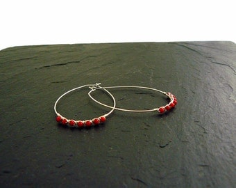 New: Oval hoop earrings with coral, Silver earrings, coral earrings, earrings red, large hoop earrings silver, silver hoop earrings, red, Silver earrings