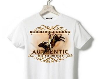 White T-shirt - kids - Rodeo bull riding