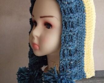SALE! Crocheted Hood for Kids, Children's Hood, Yellow child's hat, Crocheted Blue Hat for kids, Kids Hoodie, Kids Hood with Pom Pom