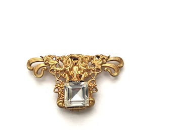 Vintage Clear Rhinestone Gold Tone Dress Clip