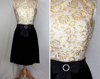 All That Glitters Velvet & Metallic Party Dress | 1960s | Women's M/L