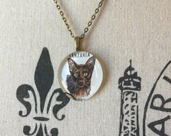 Recycled Cat Necklace, Havana Cat, Cat Jewelry, Eco-Friendly Cat Jewelry, Cat Pendants, Domestic Cat, Cat Gift Under 30, Cat Lover Jewelry,