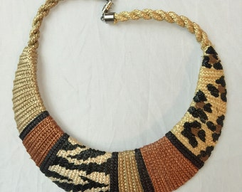 Animal print geometric choker necklace