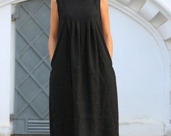 Linen dress. Long Black linen dress / Loose summer dress / Linen clothing / women linen