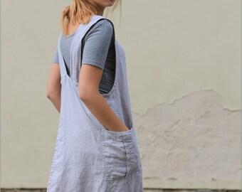 Natural Linen Apron Dress / Washed Linen dress / Oversize Linen tunic / Pocket Dress / Work Dress / Pinafore Linen dress / linen/