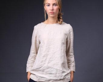 Natural linen blouse / Linen SHIRT / Longer sleeves blouse / Linen tank top / linen top