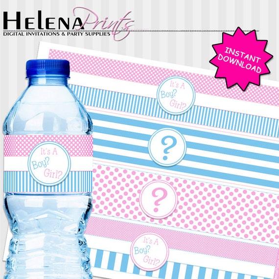 Gender Reveal Water Bottle Labels It's A Boy Or By