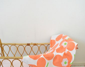 vintage large-flowered orange cloth, sheet