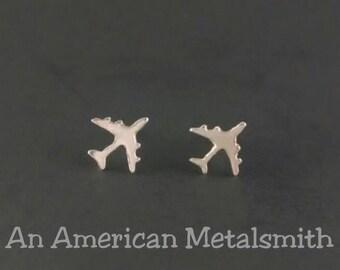Sterling Silver Airplane Earrings, Airplane Jewelry, Plane Earrings, Aeroplane Earrings, Silver Studs, Stewardess Earrings, Travel Earrings