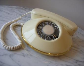 "Vintage 1970's Rotary Phone Northern Telecom Pancake Phone Ivory Gold Retro Glam Phone ""Dawn"" Model"