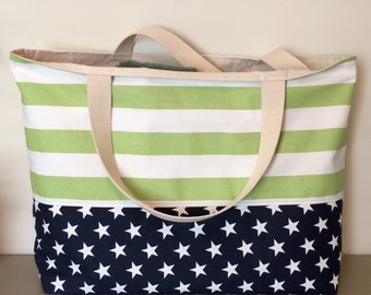 Extra Large Beach Bag, Pool Bag, Tote Green Stripes with Navy/white stars