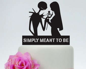 Wedding Cake Topper,Simply Meant To Be,Personalized Cake Topper,Jack Skellington Cake Topper, Jack and Sally, Halloween Wedding Topper P146
