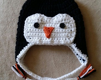 Black and White Penguin Earflap Hat All Sizes