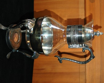 Vintage Leonard Silverplate Glass Coffee Carafe with Warming Stand   01109