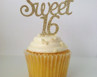 SWEET 16 CUPCAKE TOPPERS | Happy Sweet 16 | Gold Glitter Sweet 16 Cupcake Toppers | 16th Birthday Decor  | Happy Sweet Sixteen