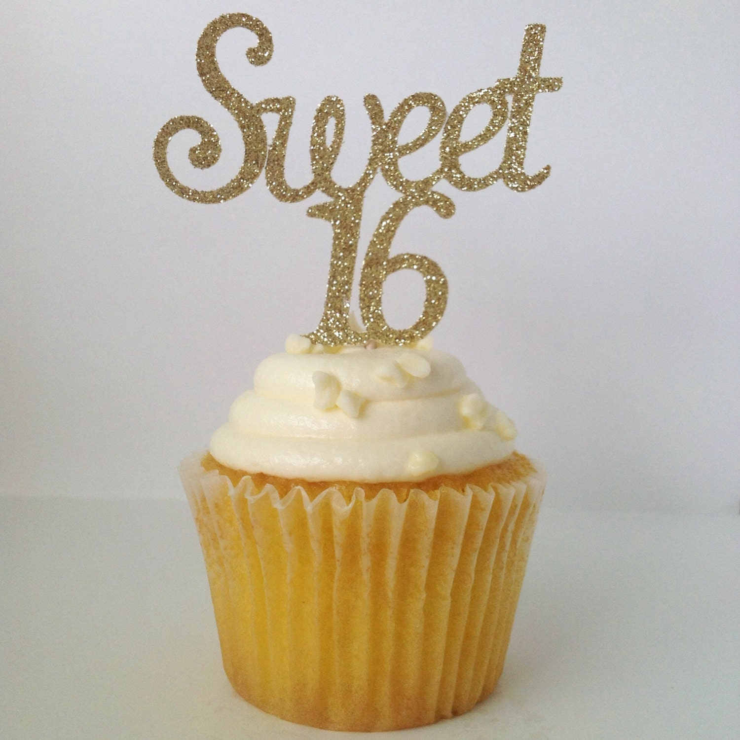 Sweet 16 cupcake toppers happy sweet 16 gold glitter sweet for 16th birthday decoration