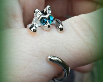 Silver Cat Ring with Blue Eyes - Adjustable Cat Ring - Kitten Ring