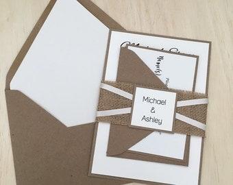 rustic wedding invitation, burlap wedding invitation, burlap ribbon invitation, kraft invitation, country invitation