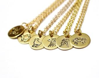 Zodiac Symbol Charm Necklace, Sterling silver Zodiac Necklace, Silver and gold Necklace, Birthday Necklace, Birth Month Charm Necklace