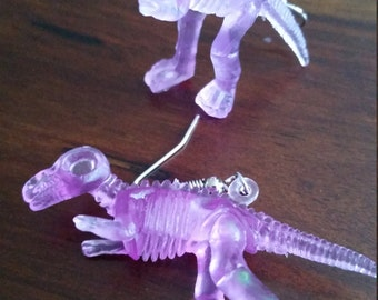 Neon Purple Dino Fossil Earrings