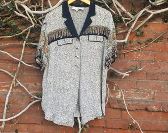 80s Black & White Tribal Button Up