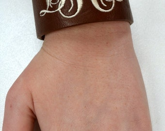 Embroidered Monogrammed Leather Cuff Snap Bracelet / Wristband