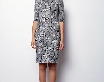 ON SALE, Midi Pencil Dress, Snake print Dress, Black & white print Dress - Nely - Size S/ 36
