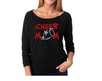 Cheerleading Mom. Cheer Moms. Cheer Mom Shirt. Spirit Shirt Cheerleader. Megaphone Shirt. Cheerleade Gift. 3/4 Sleeve Wideneck Shirt