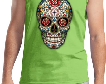 Men's Skull Tanktop Sugar Skull with Roses Tank Top WS-16553-2200