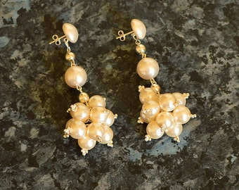 The Man from Uncle style swarovski pearl cluster earrings as worn by Victoria