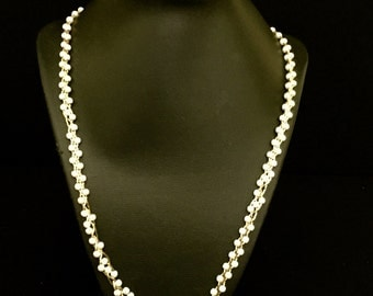 Braided Pearl and Gold Chain Necklace          VG2044