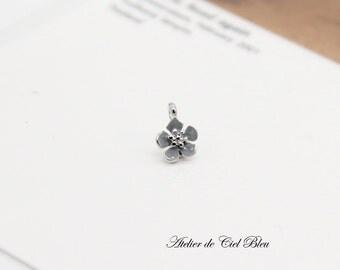 Tiny Flower Charm, Blue Enamel Flower Charm, Tiny Forget Me Not Charm,  Flower Pendant, Forget Me Not Pendant, Silver Flower Charm
