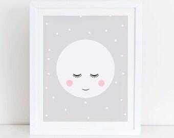 Moon Art Print, Cute Moon Wall Art, Instant Download, Printable Digital Art Print, Scandinavian Wall Art,  Moon Art Print, Nursery Print