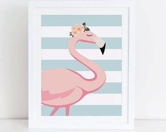 Flamingo Art Print, Flamingo Printable, Instant Download,  Printable Home Decor, Digital Art Print, Pink Flamingo Wall Decor