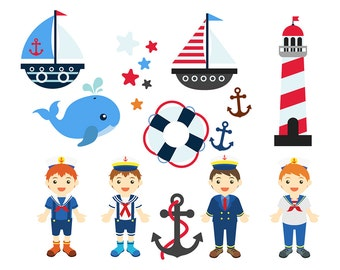 sale NAUTICAL BOYS Clipart Set Clip Art Anchor Whale Lighthouse Sailboat Nautical Boat PNG Images Clipart Printable Graphic Instant Download