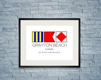 """GRAYTON BEACH, Florida Nautical Flag Art Print  8"""" x 10"""" Or 11"""" x 14"""" Ocean Beach Cabin Lodge Coastal Decor Home"""